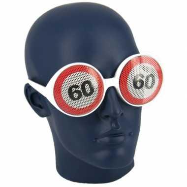 Verjaardagbril met 60 verkeersbord