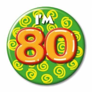 Verjaardags button i am 80