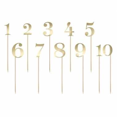 Verjaardagstaart versiering getallen goud