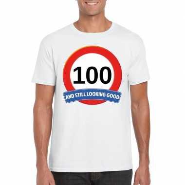 Verkeersbord 100 jaar t-shirt wit volwassenen