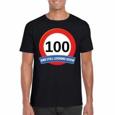 Verkeersbord 100 jaar t-shirt zwart volwassenen