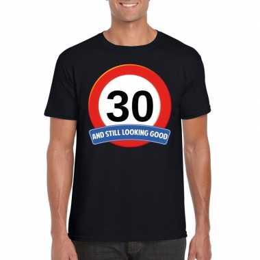 Verkeersbord 30 jaar t-shirt zwart volwassenen