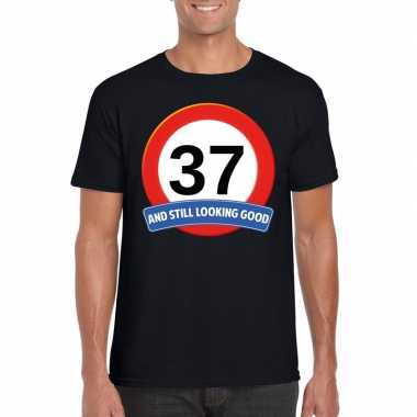 Verkeersbord 37 jaar t-shirt zwart heren