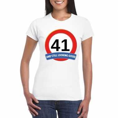 Verkeersbord 41 jaar t-shirt wit dames