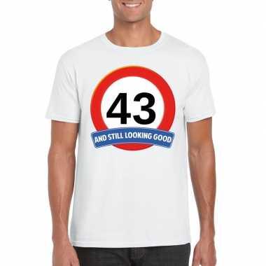 Verkeersbord 43 jaar t-shirt wit heren