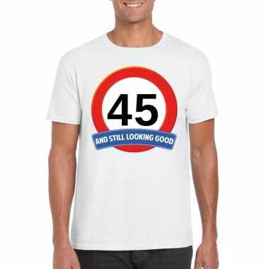 Verkeersbord 45 jaar t-shirt wit volwassenen