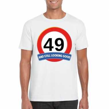 Verkeersbord 49 jaar t-shirt wit heren