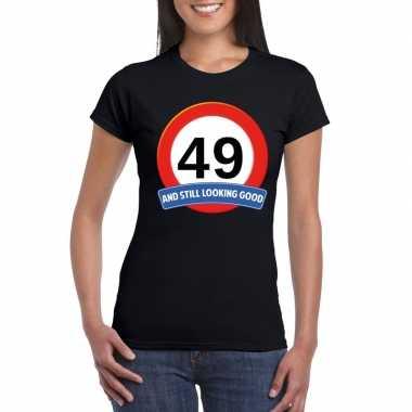 Verkeersbord 49 jaar t-shirt zwart dames