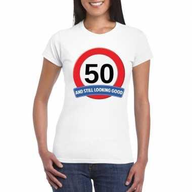 Verkeersbord 50 jaar t-shirt wit dames
