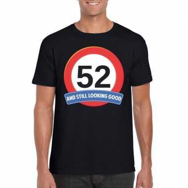 Verkeersbord 52 jaar t-shirt zwart heren