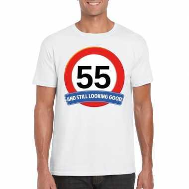 Verkeersbord 55 jaar t-shirt wit volwassenen