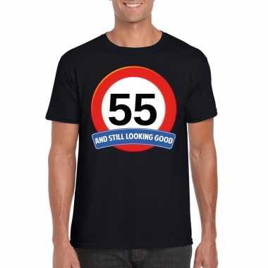 Verkeersbord 55 jaar t-shirt zwart volwassenen