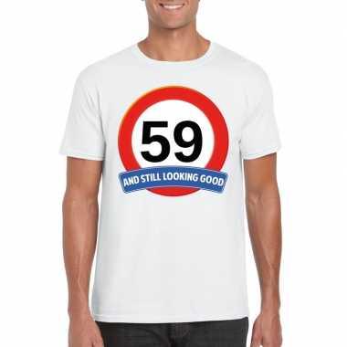 Verkeersbord 59 jaar t-shirt wit heren