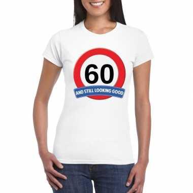 Verkeersbord 60 jaar t-shirt wit dames