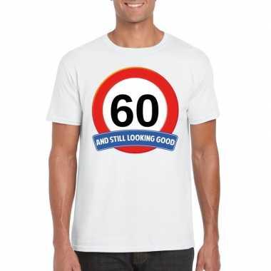 Verkeersbord 60 jaar t-shirt wit volwassenen