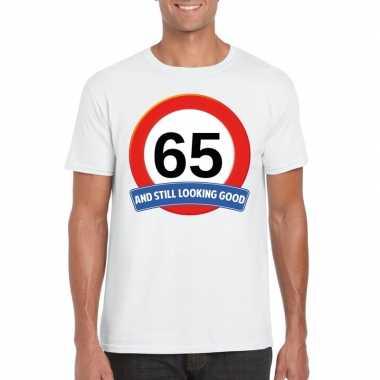 Verkeersbord 65 jaar t-shirt wit volwassenen