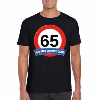 Verkeersbord 65 jaar t-shirt zwart volwassenen