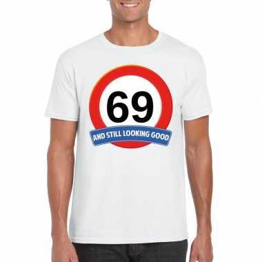 Verkeersbord 69 jaar t-shirt wit heren