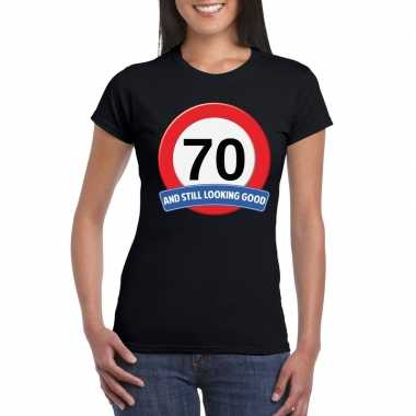 Verkeersbord 70 jaar t-shirt zwart dames