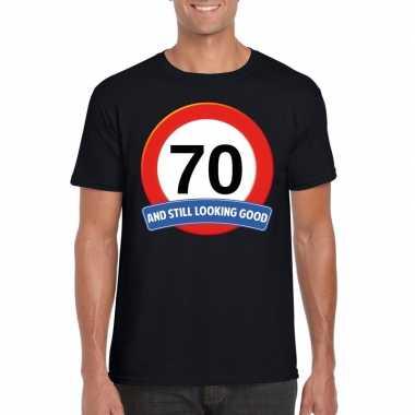Verkeersbord 70 jaar t-shirt zwart volwassenen
