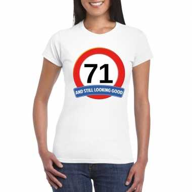 Verkeersbord 71 jaar t-shirt wit dames