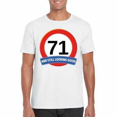 Verkeersbord 71 jaar t-shirt wit heren