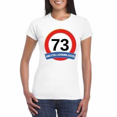 Verkeersbord 73 jaar t-shirt wit dames
