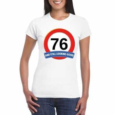 Verkeersbord 76 jaar t-shirt wit dames