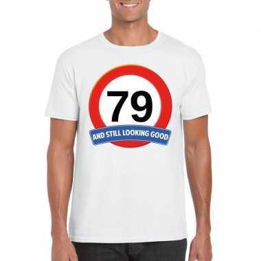 Verkeersbord 79 jaar t-shirt wit heren