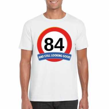 Verkeersbord 84 jaar t-shirt wit heren