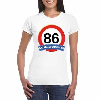 Verkeersbord 86 jaar t-shirt wit dames