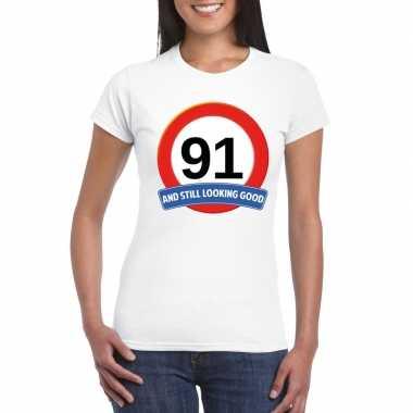 Verkeersbord 91 jaar t-shirt wit dames