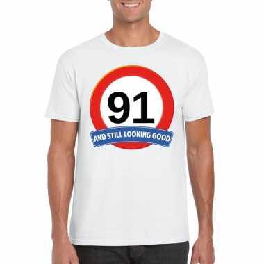Verkeersbord 91 jaar t-shirt wit heren