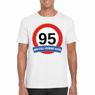 Verkeersbord 95 jaar t-shirt wit volwassenen