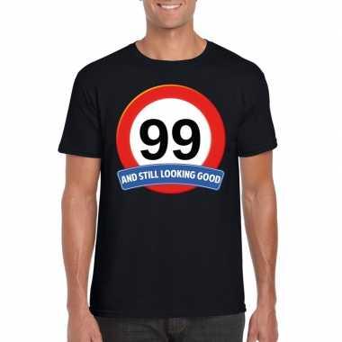 Verkeersbord 99 jaar t-shirt zwart heren