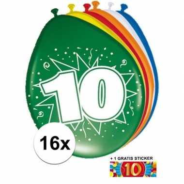 Versiering 10 jaar ballonnen 30 cm 16x + sticker