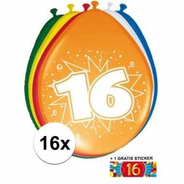 Versiering 16 jaar ballonnen 30 cm 16x + sticker
