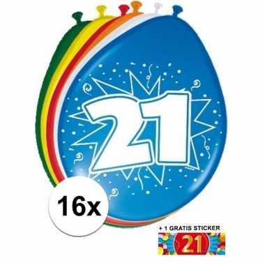 Versiering 21 jaar ballonnen 30 cm 16x + sticker