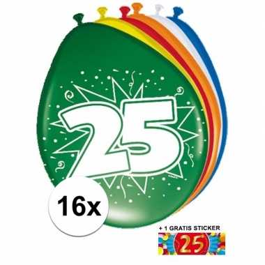 Versiering 25 jaar ballonnen 30 cm 16x + sticker