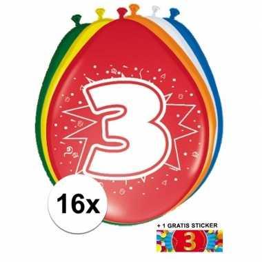 Versiering 3 jaar ballonnen 30 cm 16x + sticker