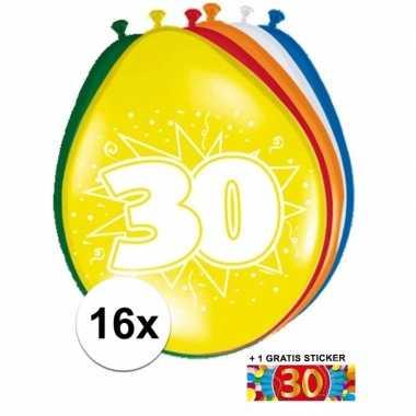 Versiering 30 jaar ballonnen 30 cm 16x + sticker
