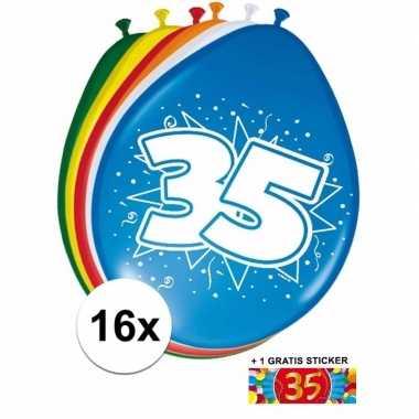 Versiering 35 jaar ballonnen 30 cm 16x + sticker