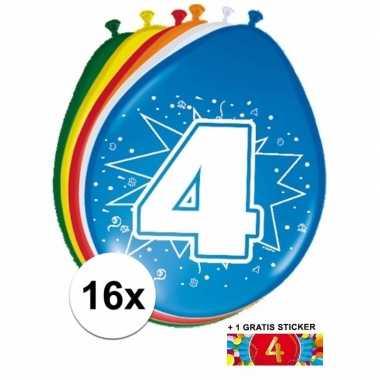 Versiering 4 jaar ballonnen 30 cm 16x + sticker
