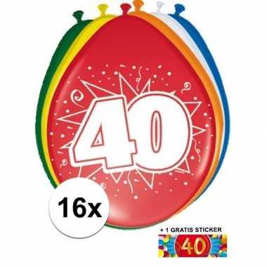 Versiering 40 jaar ballonnen 30 cm 16x + sticker