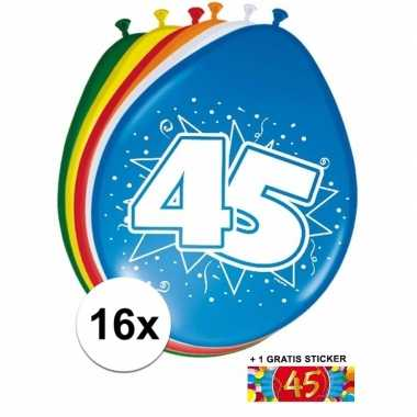 Versiering 45 jaar ballonnen 30 cm 16x + sticker