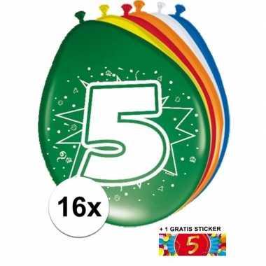Versiering 5 jaar ballonnen 30 cm 16x + sticker