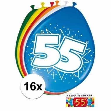Versiering 55 jaar ballonnen 30 cm 16x + sticker