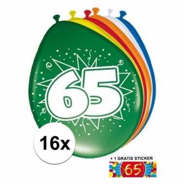Versiering 65 jaar ballonnen 30 cm 16x + sticker