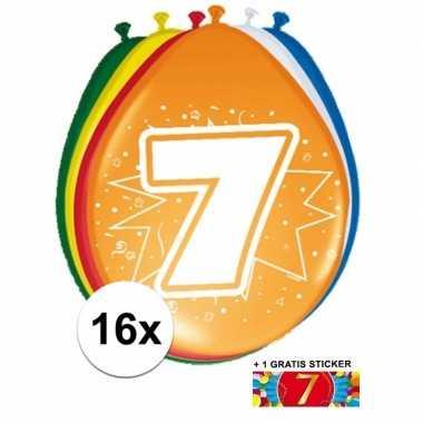 Versiering 7 jaar ballonnen 30 cm 16x + sticker