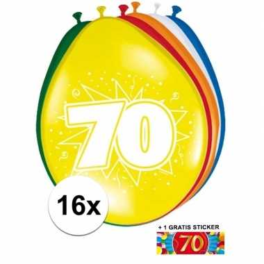 Versiering 70 jaar ballonnen 30 cm 16x + sticker